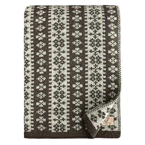 Linen und Cotton Luxus Warme Decke Wolldecke Gestrickt Arctic - 100prozent Reine Neuseeland Wolle, Anthrazit Grau (130 x 180cm) Wohndecke Kuscheldecke Strick Sofadecke Strickdecke Plaid Schurwolle Couch Sofa