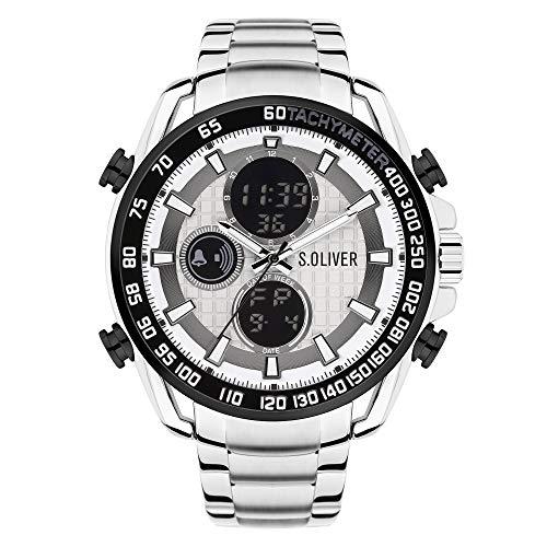 s.Oliver Herren Analog-Digital Quarz Uhr mit Edelstahl Armband SO-4244-MD