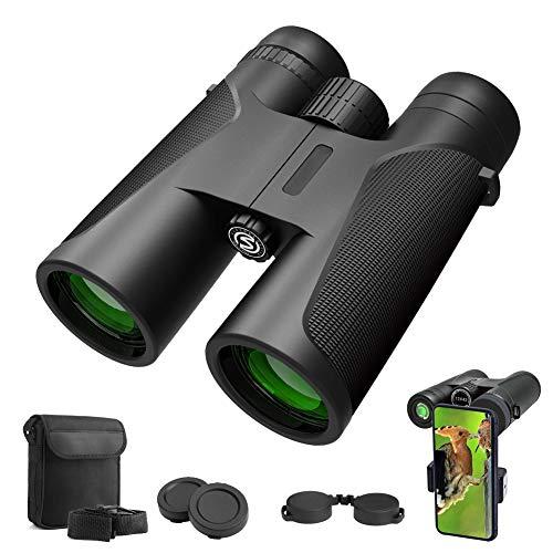 Fernglas 12x42 kompakte Ferngläser für Vogelbeobachtung, Wandern, Jagd, Sightseeing, Kleines Fernglas mit FMC Linse, Tragetasche und Smartphone-Adapter