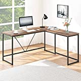 HSH L Shaped Computer Desk, Metal and Wood Rustic Corner Desk, Industrial Writing Workstation Table for Home Office Study, Rustic Oak 59 x 55 Inch