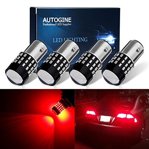 AUTOGINE 4 X Super Bright 9-30V 1157 2057 2357 7528 LED Bulbs 3014 54-EX Chipsets with Projector for Tail Lights Brake Lights, Brilliant Red