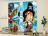 chinawh 3D Cortina Dibujos Animados Pirata Barco Pirata Aventura 280X180Cm Poliéster Moderno Cortinas Para Salón Dormitorio Infantil Habitación Cocina Hogar Decoración