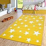 TT Home Alfombra Infantil De Pelo Corto para Habitación Infantil con Motivo De Estrellas, Amarilla, Größe:200x290 cm