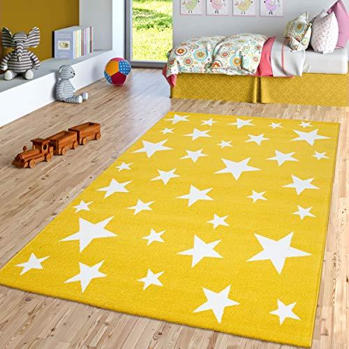 TT Home Kinder-Teppich, Kurzflor-Teppich Für Kinderzimmer Mit Stern-Muster, In Gelb, Größe:80x150 cm