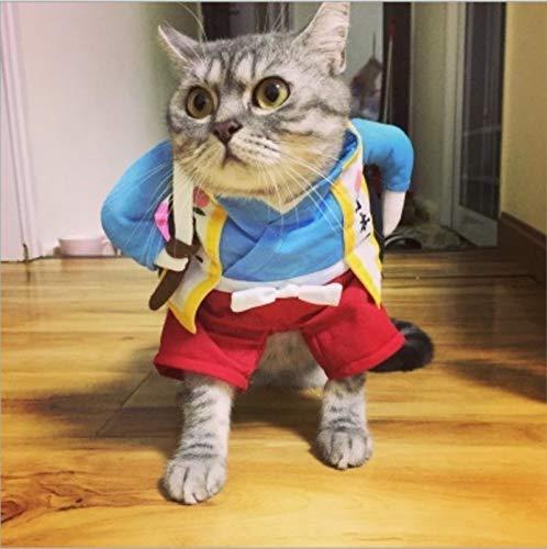YUANSHIHUI Pet Care Funny Cat Dog Costume Uniform Suit Cat Clothes Costume Puppy Clothes Dressing Up Suit Party Clothing for Cat Cosplay Clothes, Size:S(Urashima Taro) (Color : Samurai Knife)