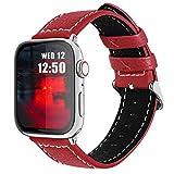 Fullmosa コンパチ Apple Watch バンド ベルト アップルウォッチバンド 44mm 42mm Fullmosa apple watch series6/5/4/3/2/1、SEに対応 バンド 本革レザー 交換バンド ラグ付き(レッド 42mm/44mm)