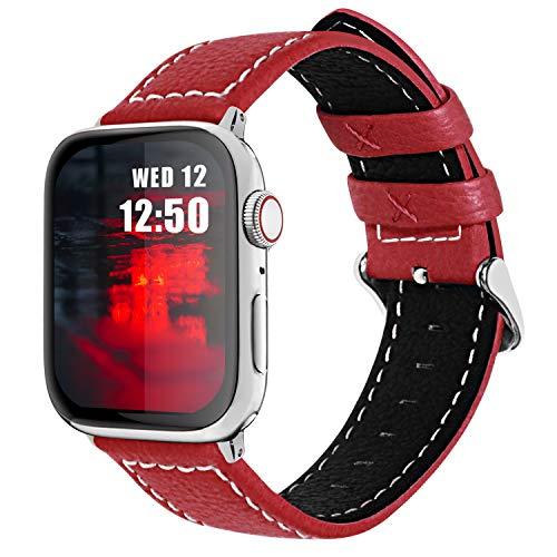 Fullmosa Cinturino per Apple Watch 44mm/42mm, Jan Cinturino in Pelle con Chiusura in Acciaio Inossidabile Compatibile con iWatch Serie SE 6 5 4 3 2 1, Rosso, 42mm/44mm