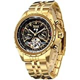 Gute Men's Automatic Watch, Luxury Gold Tone Stainless Steel Big Face Mens Multi Functional Mechanical Wristwatch