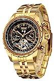 GuTe luxuriöse, goldene, automatische, Tourbillon-Armbanduhr für Herren, mit Kalender-, Tag- und Datumanzeige, Edelstahl-Armband, schwarzes Zifferblatt, Leuchtzeiger