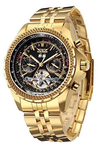 GuTe Luxury–Golden meccanico automatico Tourbillon orologio da polso calendario giorno data cinturino in acciaio quadrante nero lancette luminose