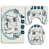 Not Applicable Etiqueta de vectores para la decoración de Judo, Shark Practicing Judo 3 PCS Conjuntos de alfombras de baño Alfombrilla de baño Alfombrilla de Contorno Cubierta de la Tapa del Inodoro