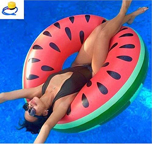 Aufblasbarer Donut Wassermelone Melone rot Schwimmring Schwimmreif Luftmatratze Schwimmkissen für Pool, Strand, Spielzeug für Erwachsene und Kinder
