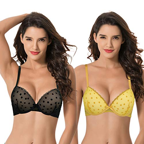 Curve Muse Women's Plus Size Push Up Add 1 and a Half Cup Underwire Mesh Bra -2PK-Black,YELLOW-40B