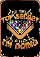 "RCY-T Billiard Pool Strategy Top Secret Wall Art 12""x 8"" 金属スズレトロヴィンテージサイン"
