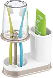 mDesign Decorative Plastic Bathroom Vanity Countertop Toothpaste & Toothbrush Holder Stand with Rinsing Cup/Cover - Dental Center Holds Electric Toothbrushes - White/Satin