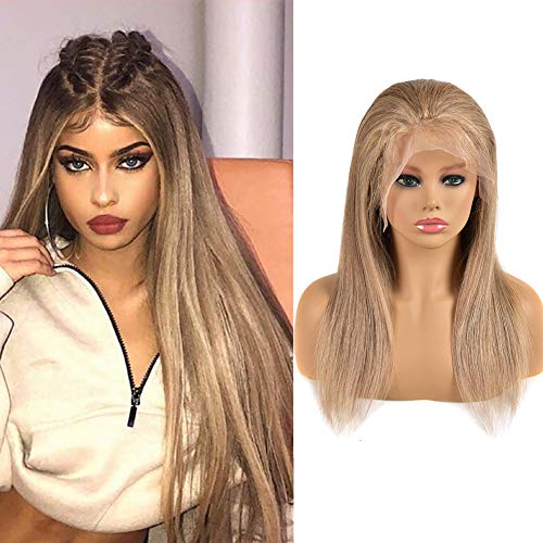 Volvetwig Gerade 13x4 Lace Wig Human Hair Top Swiss Lace Qualität Haare Perücke Echthaar Blonde Hair Mixed Color #8/613 Tiefblond und Hellblond 16 zoll