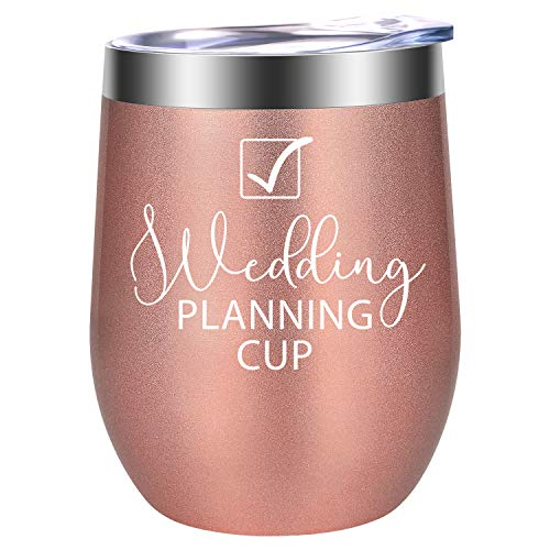 Wedding Planning Cup - Congrats Wedding, Engagement Gifts - Funny Bridal Shower, Newly Engaged, Just Engaged Wine Gifts Idea for Women, Her, Bride to Be, Best Friend, BFF, Sister - LEADO Wine Tumbler