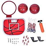 Zerone Canestro da Basket al Coperto Set, Easy Score Pallone da Basket Giocattolo per Bambini Gioco da Bambini, Canestro da Basket Regolabile con 2 Pezzi Pallacanestro da Gioco Hanging Tabellone