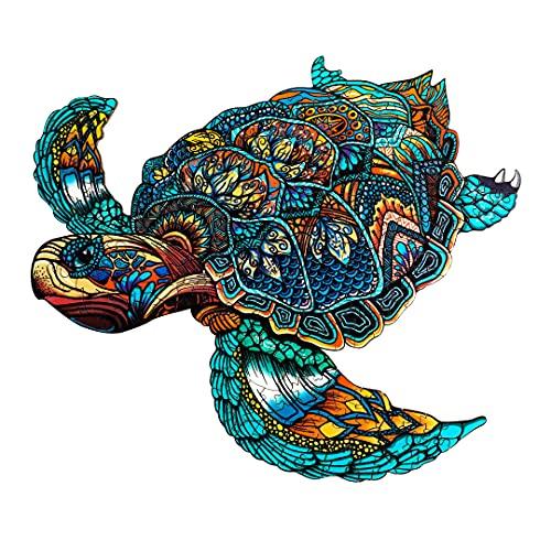 Funnli Holzpuzzles für Erwachsene und Kinder,Einzigartige Tierförmige Holz-Puzzle(Meeresschildkröte), Puzzle aus Tierteilen (L-38 * 32.2cm)