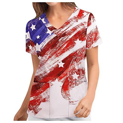 T-Shirt Frauen Positionierung Independence Day Flag Print Kurzarm Workwear Top (M,1b)