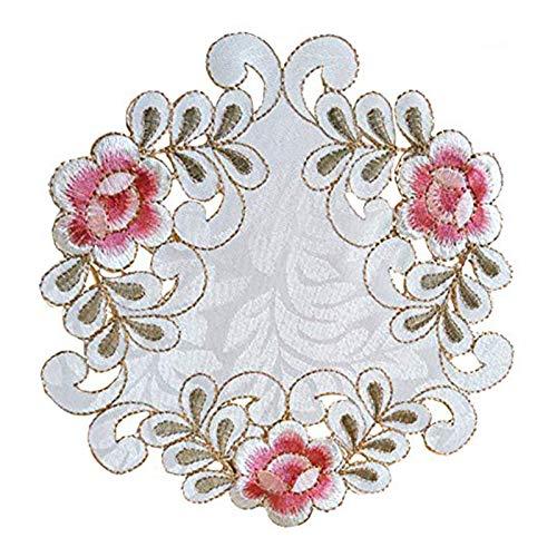 EQLEF - Juego de 4 manteles individuales de encaje bordados, redondos, para floreros, poliéster raso, Blanco, Type 1