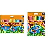 BIC Kids Plastidecor- Blíster de 24 unidades, ceras para colorear, colores surtidos + Kids Plastidecor Blíster de 12 unidades, ceras para colorear, colores surtidos