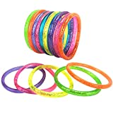 6 Inch Liquid Glitter Bracelets – Pack Of 12 - Assorted Neon Colors – Bright Neon Jewelry for Girls – Fashionable Glitter Bangles from Playko – Neon Bracelets for Women – Party Favors, Gift Ideas