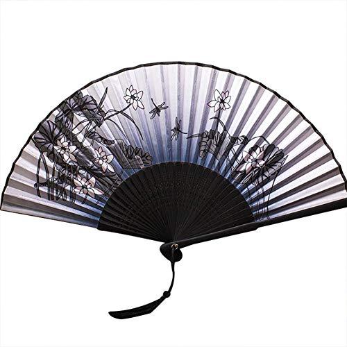 NR Faltfächer für Damen und Herren, 21 cm (21 cm), Seidenfächer mit Bambusrahmen, Hohlschnitzer-Muster, Bambusrahmen, Handfächer, Geschenkfächer