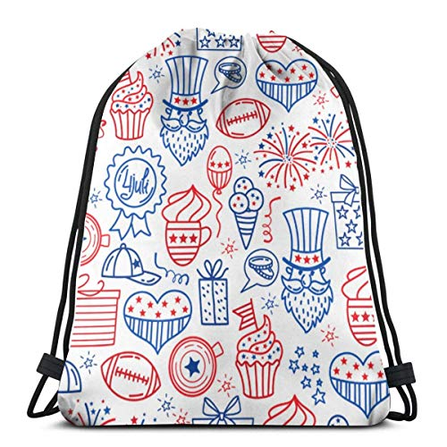 Drawstring Bags 4 July Usa Independence Day Backpack Pull String Bags Storage Gym For Adults Folding Travel Rucksack