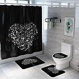 Fansu Badvorleger-Set Duschmatte Konturmatte WC-Deckelbezug Duschvorhang Badezimmermatte Badezimmerteppich, rutschfeste Badvorleger für Küche Dusche & Toilette (Schwarz,4-teiliges Set)