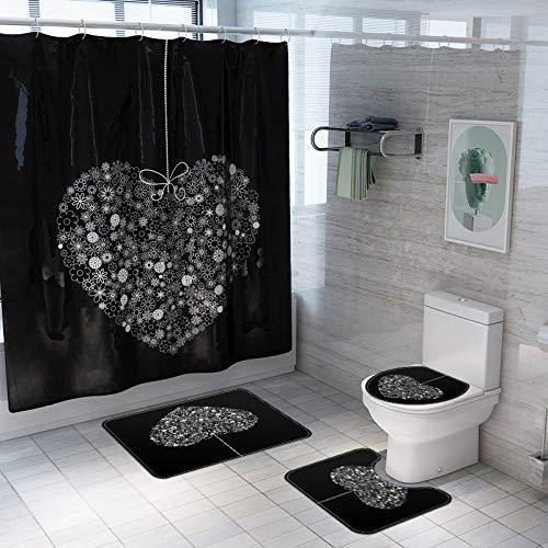 Fansu Juego de Alfombra de baño Antideslizante Tapa de Inodoro Alfombrilla de baño Cortina de Ducha, Lavable Felpudo para Cuarto de baño Enamorado Impresión (Negro,Conjunto de 4 Piezas)