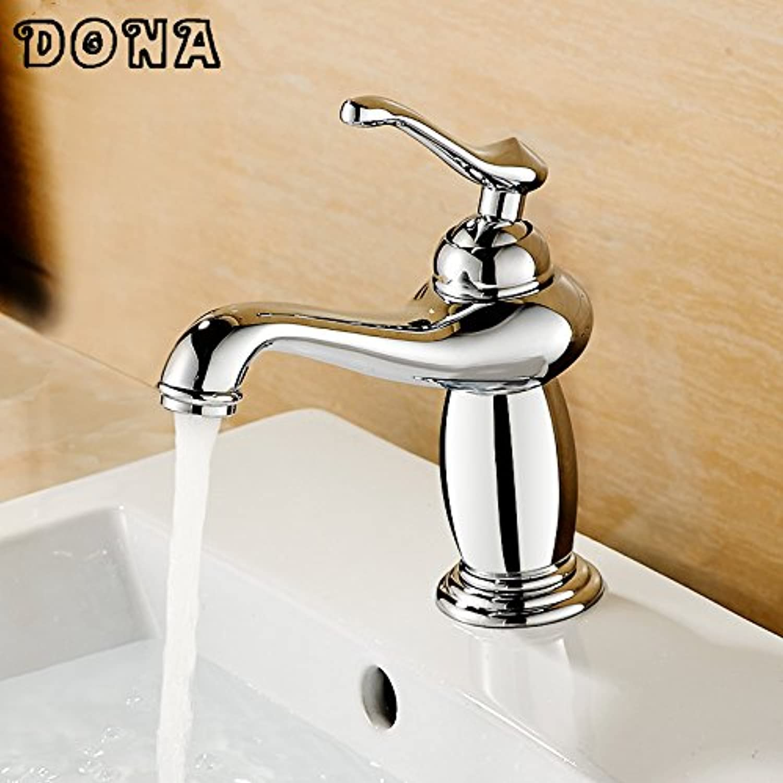 U-Enjoy pink golden Brass Top Quality Faucet Hot & Cold Tap Bathroom Single Handle Mixer Bath Mixer Tap (Chrome)