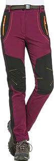 Mujer Hombre al Aire Libre de Estiramiento de Fleece Forrada Senderismo Pantalones de Escalada Pantalones de Carga de montaña Transpirable para Ropa Deportiva de Invierno S-5XL