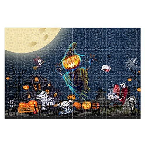 TIREOW Halloween Puzzles für Erwachsene Kinder, Gruslig Spukhaus Geist Kürbis 3D Druck 1000 Stück Halloween-Puzzle Interessantes Spielzeug Geschenk 29.5x19.7 Zoll