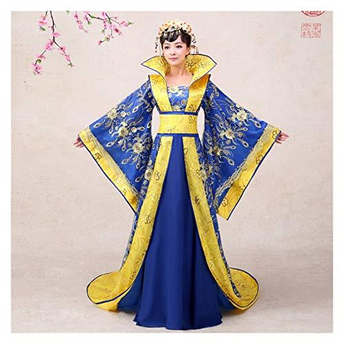 Disfraz antiguo de concubina de Hanfu para mujer, estilo chino, azul, disfraz dominante (color: azul, tamao: talla nica)