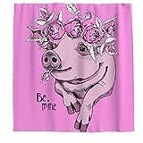 Anti-Schimmel Duschvorhang, Schwein Blumen Waschbar Wasserdicht Badvorhänge Hochwertige Qualität Blickdicht aus Stoff für Badezimmer Rosa 150x200cm