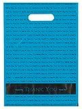 9x12 Teal'Thank You' Die Cut Handle Plastic Bags 50/cs- Bags Direct Brand