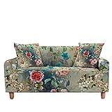 WXQY Funda de sofá con Estampado Floral Funda de sofá de Hoja Floral elástica Funda de sofá Todo Incluido Antideslizante Moderna elástica A10 4 plazas