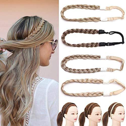 Briads Extensions Haar geflochtene Haarverlängerung Stirnband klassische klobige breite geflochtene Zöpfe elastische Stretch Haarteil Frauen Mädchen Beauty-Accessoire Honigblond Mischung Bleichblond