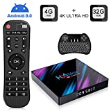 H96 Max Android 9.0 TV Box con Wireless Mini Tastiera, 4GB DDR3 + 32GB EMCC, RK3318 Quad-Core 64-Bit, Dual Wi-Fi 2,4G / 5G, 100M LAN, Bluetooth 4.0, 3D H.265 4K Smart TV Box