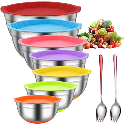 Premium Stainless Steel Mixing Bowls with Airtight Lids – Set of 9 Metal Brushed Mixing Bowl Set , Colorful Non-Slip Bottoms, Nesting Bowls for Space Saving Storage, Great for Cooking, Prepping