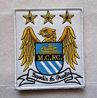 Manchester City Football Club M.c.E.c 3D Tactical Military Badges Embroidered Patch Back with Loops and Hook