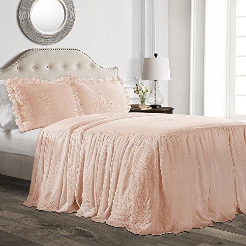 Price comparison product image Lush Decor Ruffle Skirt Bedspread Blush Shabby Chic Farmhouse Style Lightweight 2 Piece Set,  Twin