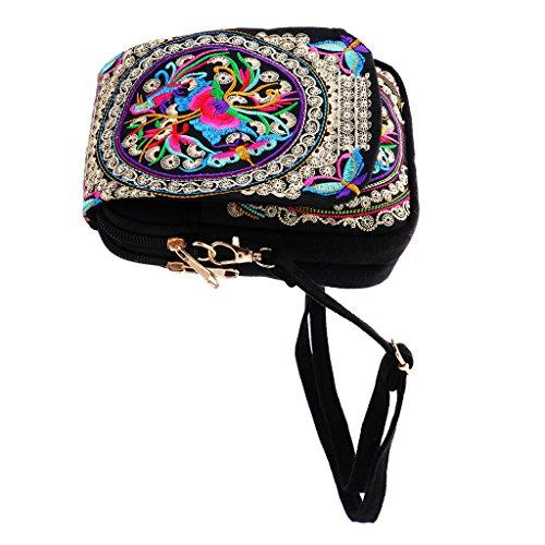 Sharplace Damen Schultertasche Kleine Umhängetasche Vintage Retro Blume Bestickte Handtasche