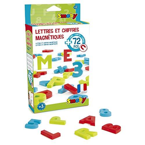 Smoby - 72 Lettres et Chiffres Magnétiques - Pour Tableau ou Bureau - 3 Couleurs - Rouge Vert et Bleu - 48 Lettres + 24 Chiffres et Signes Mathématiques - 430102