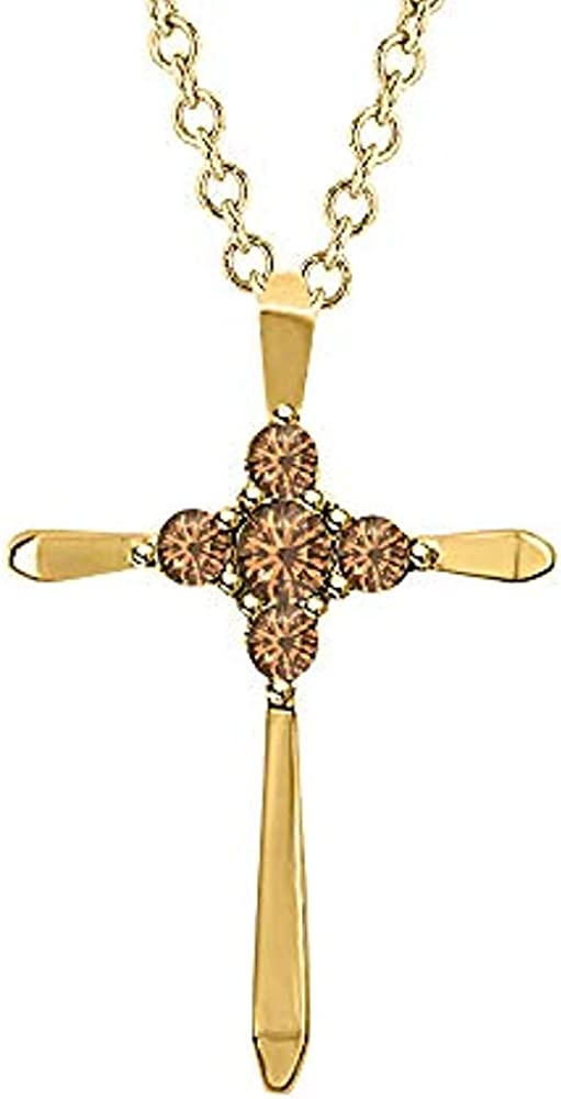 Gomesjewels 0.30 Ct Created Round Cut Smoky Quartz Gemstones 925 Sterling Silver Brilliant Flower Cluster Cross Pendant Valentines for Womens /& Girls