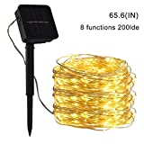 pengxian Outdoor Solar String Lights-LED Lights-Copper Wire lights-20 Meters 200 Lights-8 Lighting Modes-Waterproof-Christmas-Decoration-Garden-Festival-Wedding (Yellow)