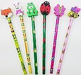 6 Cute Animal Eraser Topper Pencils Girl Boy <span class='highlight'>Stationery</span> School Gift Stocking Party Bag Filler Present Rubber Fun