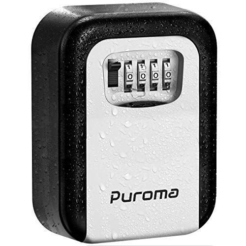 Puroma Key Lock Box, 4-Digit Combination Key Storage Lockbox Wall Mount 5 Key Large Capacity for House Key, Special Car Key, ID Card (Black & Gray)