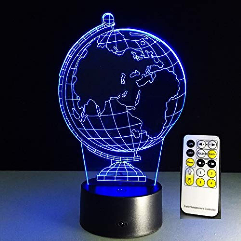 3D LED Lampe Nachtlicht 7 Farben USB Dimmbar Optisch Illusionen Schreibtischlampe Globus Gestalten zum Kinder Zimmer Dekoration (Farbe   Touch and Remote)
